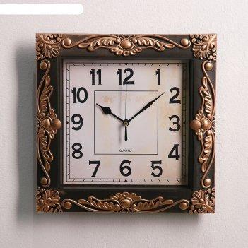 Часы настенные зара, 25х25 см микс  бронза