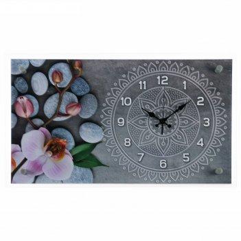 Часы настенные, серия: цветы, спа, 36х60  см, микс