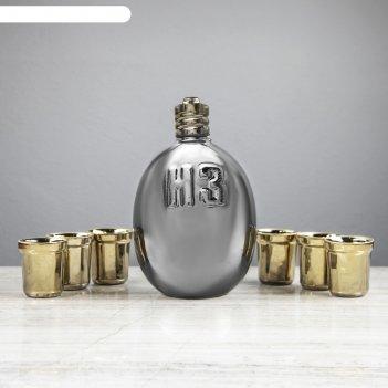 Штоф с рюмками  фляга  серебро  набор: штоф 1,5 л и 4 рюмки 0,05 л,