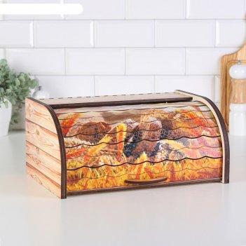 Хлебница деревянная хлеб, с принтом