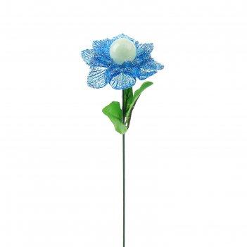 Декор садовый бархатная роза, светящийся в темноте, штекер 40 см, микс цве