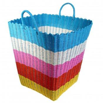 Корзина для белья плетеная 40х40х40 см, цвета микс