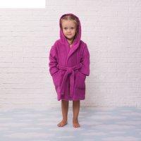 Халат махровый детский, размер 32, цвет розовый, 340 г/м2 хл.100% с airo