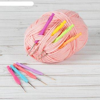 Крючок для вязания, с пластиковой ручкой, d = 0,8-2 мм, 8 шт, цвет микс