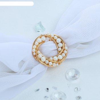 Зажим для платка жемчужный круг, цвет белый в золоте