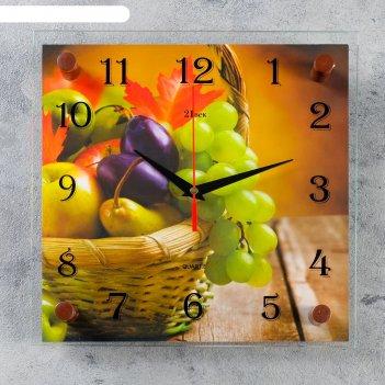 Часы настенные квадратные корзина с фруктами, 25х25 см