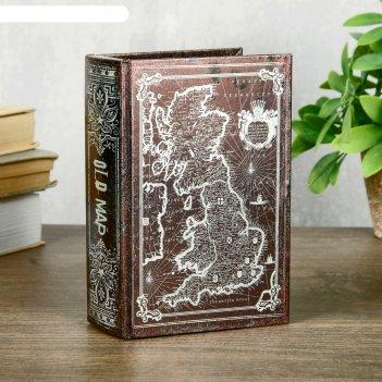 Шкатулка-книга дерево кожзам перламутр старая карта 16х11х4,5 см