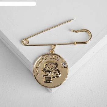 Булавка с подвеской монета профиль, цвет белый в золоте
