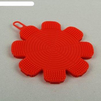 Губка для чистки посуды 13x13x1 см цветок, силикон, цвет микс