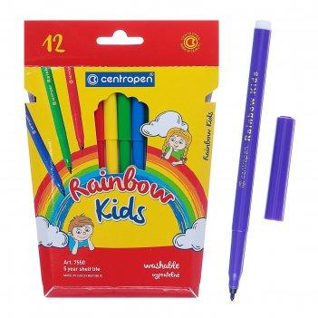 Фломастеры 12 цветов centropen 7550/12 rainbow kids, картонная упаковка, е