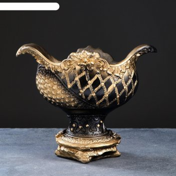 Фигурное кашпо - ваза бусинка черное золото, 28х34х21см