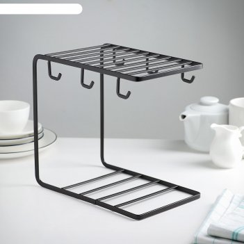 Подставка для чайного сервиза лофт 24х15,3х22,6 см, цвет коричневый