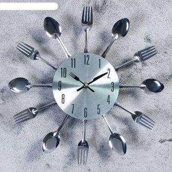 Часы настенные «столовые приборы. вилки и ложки», d=29 см, дискретный ход,