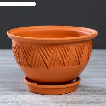 Горшок для цветов гладкий, декор, 1,5 л