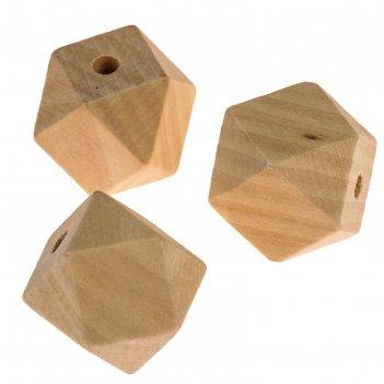 Бусины деревянные многогранники 25х25 мм (набор 3 шт) без покрытия