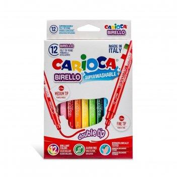 Фломастеры двусторонние 12 цветов, carioca birello 2.6/4.7 мм, в картонной