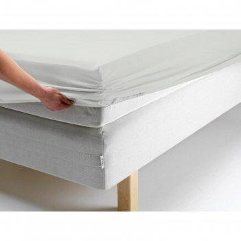 Простыня на резинке, размер 180х200х20 см, цвет белый, трикотаж 125 г/м2