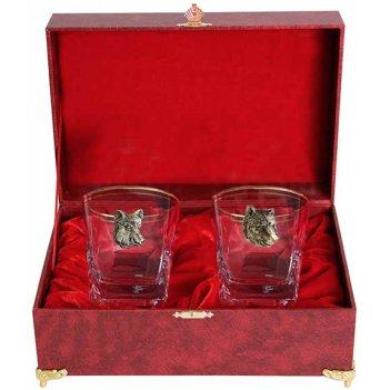 Набор из двух бокалов для виски звери кабан и медведь(латунь) в шкатулке