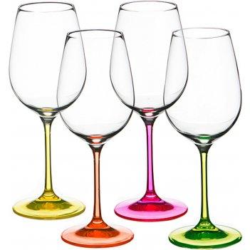 Набор бокалов для вина из 4 шт. неон 350 мл.