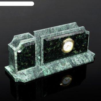 Подставка-визитница с часами, натуральный камень