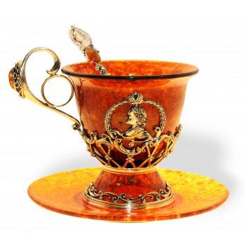 Чашка чайная пётр i из янтаря