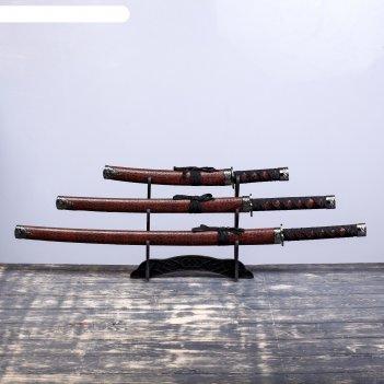 Катаны сувенирные 3в1 на подставке, коричневые ножны, под крокодила