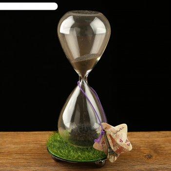 Часы песочные елисейские поля, чёрный магнитный песок, 8х16 см