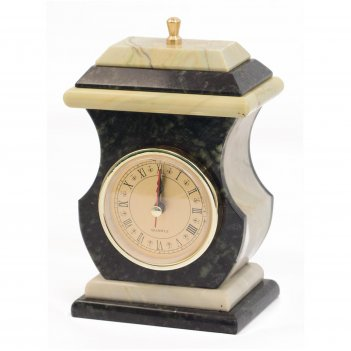 Часы со шкатулкой ретро офиокальцит 95х70х160 мм 1000 гр.