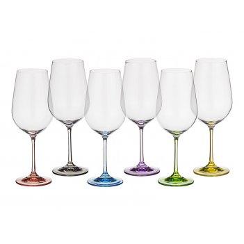 Набор бокалов для вина из 6 шт. rainbow 550 мл высота=24,5 см (кор=8набор.
