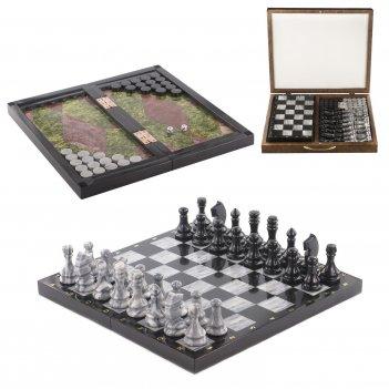 Шахматы, шашки, нарды 3 в 1 змеевик мрамор 430х430 мм