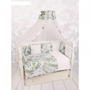 Комплект в кроватку exclusive soft collection, 18 предметов, принт папорот