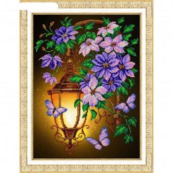Набор для вышивания бисером «фонарик и клематисы»