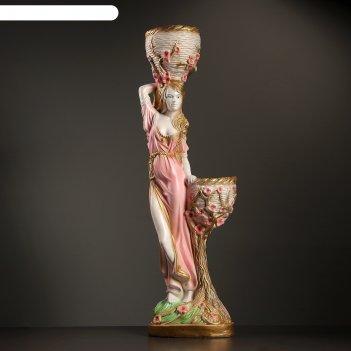 Фигура девушка с двумя кашпо 21х32х96см бело-золотой
