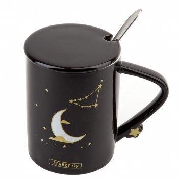 Кружка с крышкой и ложкой (иммитация золота) starry sky v=480мл. (4вида) (