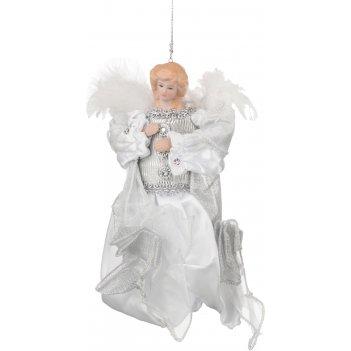 Декоративное украшение ангел в белом платье высота=18 см (мал/24кор=72 шт.