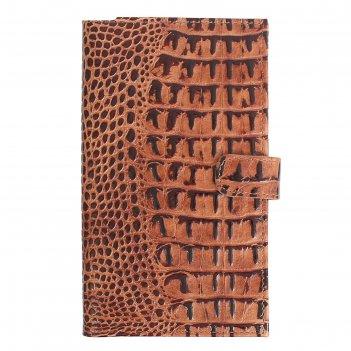 Визитница, 3 ряда, 24 листа на 144 карточки, темно-коричневый кайман