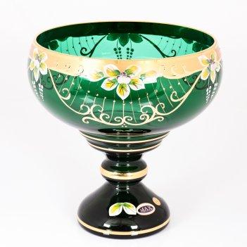 Фруктовница зеленая bohemia star crystal 26 см