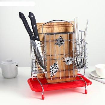 Подставка для ножей, разделочных досок и столовых приборов с поддоном  24,