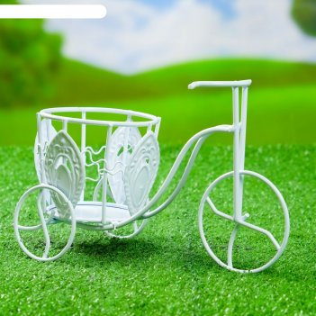 Кашпо велосипед среднее, цветы, изогнутый руль