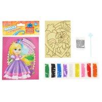 Фреска-открытка настоящей принцессе + 9 цветов песка по 2 гр, блестки 2 гр