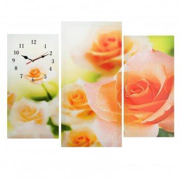 Часы настенные модульные «розовые розы», 60 x 80 см