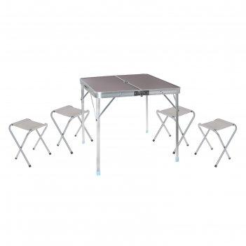 Набор туристический складной: стол, размер 81 х 81 х 70 см, 4 стула, разме