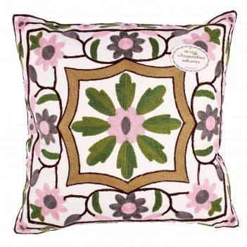 Наволочка декоративная с вышивкой collorista калипсо 43*43 см