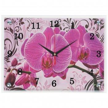 Часы-картина настенные, серия: цветы, розовые орхидеи с узором, 30х40  см,