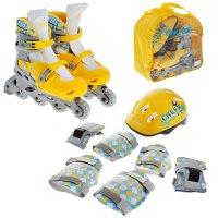 Набор ролики раздвижные + защита, колеса pvc 64 мм, пластиковая рама, yell