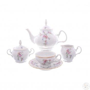 Чайный сервиз bernadotte дикая роза золото 6 персон 17 предметов