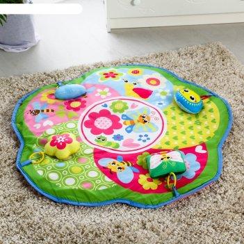 Развивающий коврик «бабочки», 4 мягкие игрушки, d80см