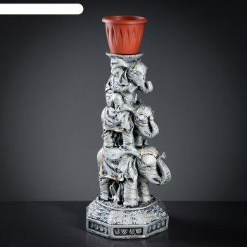 Фигура с кашпо три слона серебро