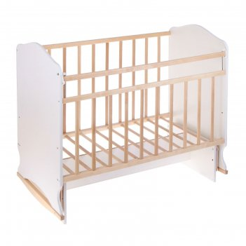Детская кроватка «морозко» на качалке с поперечным маятником, цвет белый/б