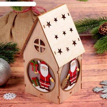 Декор с подсветкой домик с подарочком